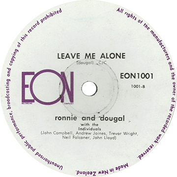 "Commercially released pressing of ""Leave Me Alone"" by Ronnie and Dougal on the EON label"