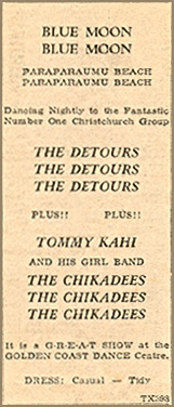 The Detours/The Chikadees - Newspaper Advertisement